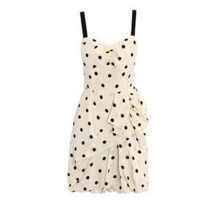 Marc Jacobs Cream and Black Polka Dot Ruffle Dress